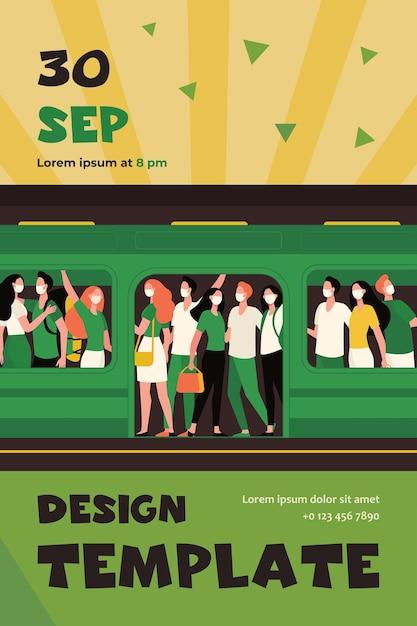 Folla di persone in maschere in piedi nel treno della metropolitana. modello di volantino piatto di trasporto pubblico, passeggeri, pendolari Vettore gratuito