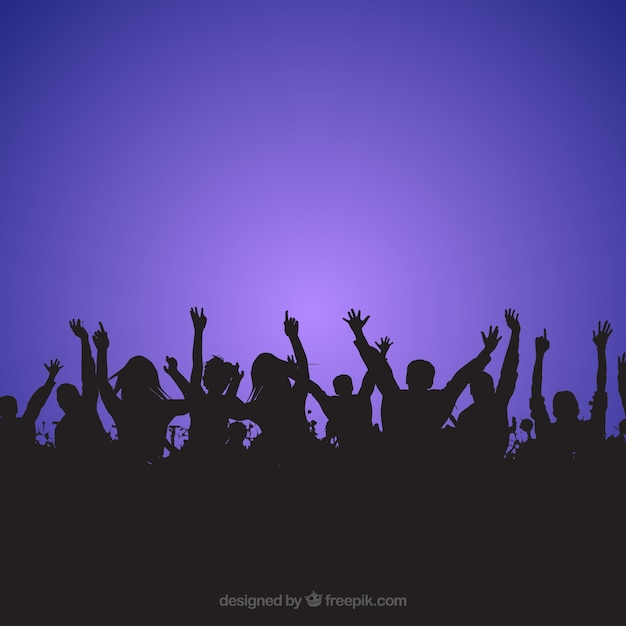 Crowd people silhouettes with various objects Free Vector