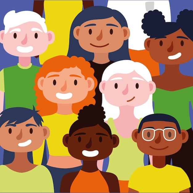 Crowd of people together inclusion concept characters Premium Vector