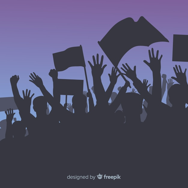 Crowd of people with flags and banners in a manifestation Free Vector