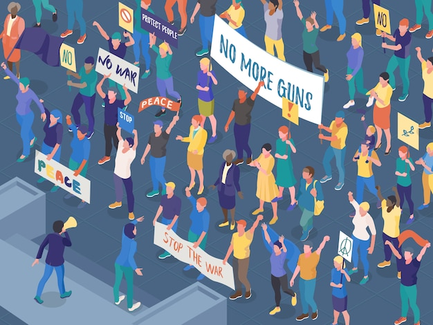 Crowd of protesting people with placards during street action against war isometric horizontal vector illustration Free Vector