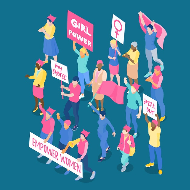 Crowd of protesting women feminists with placards and flags isometric vector illustration Free Vector