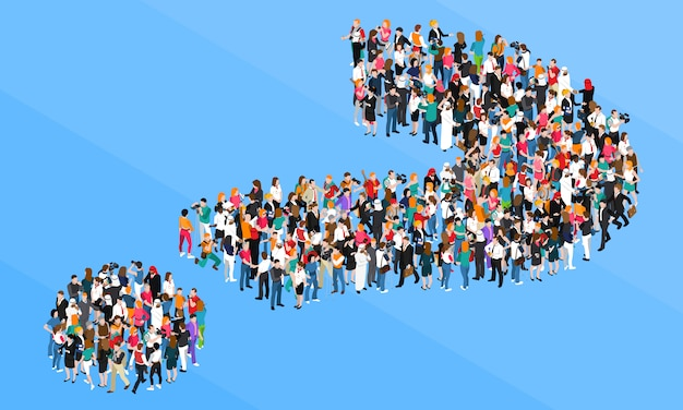 Crowd question mark isometric design concept Free Vector
