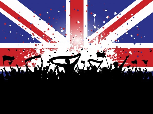 Crowd silhouette on a english flag\ background