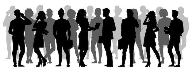 Толпа силуэт. люди группируют теневые силуэты, взрослые мужские и женские анонимные персонажи Premium векторы