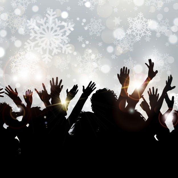 Crowd silhouettes on snowflake\ background