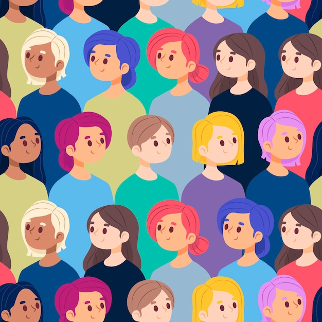 Crowded female faces pattern collection Free Vector