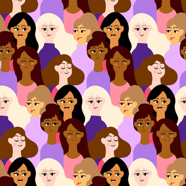 Crowded pattern place with women faces Free Vector