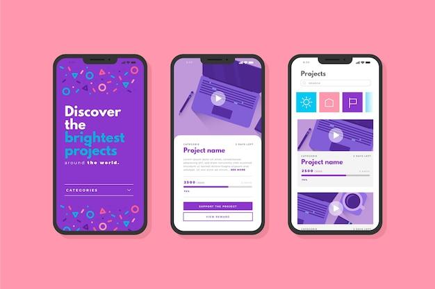 クラウドファンディングアプリのインターフェース画面 無料ベクター