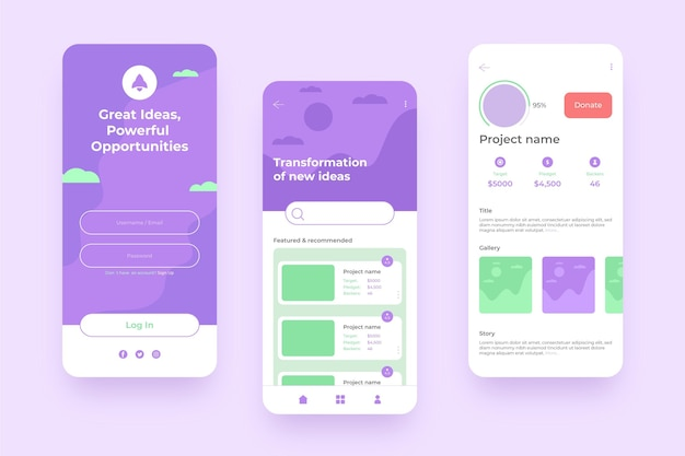 Crowdfunding app mobile phone interface Free Vector