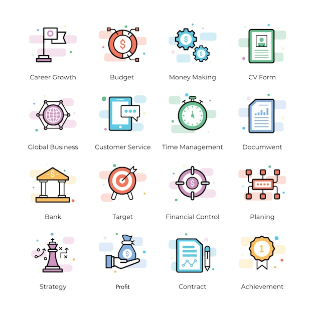 Crowdfunding and business icons Premium Vector