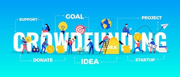 목표와 아이디어 기호 평면 그림으로 설정 크라우드 펀딩 가로 타이포그래피 배너 무료 벡터