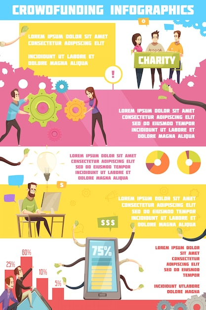 Crowdfunding infographics Free Vector