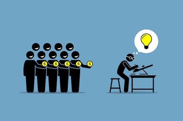 Краудфандинг или краудфандинг. произведение искусства изображает сбор денег от людей, работая над проектом или предприятием, в котором есть хорошая блестящая идея. Premium векторы