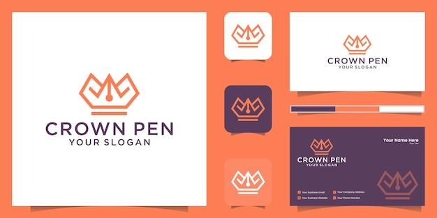 Комбинированный логотип с короной и ручкой в стиле линий и вдохновением для визитных карточек Premium векторы