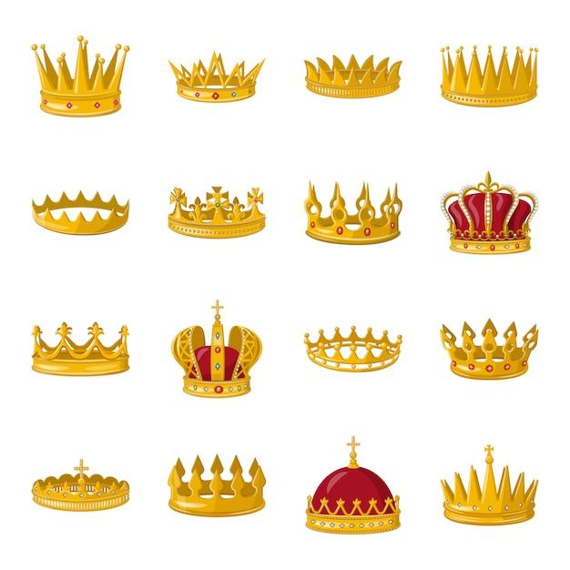 Корона мультфильм значок набор. иллюстрация золотой короны. Premium векторы