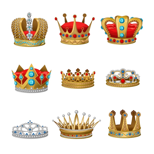 Crown clipart set Free Vector