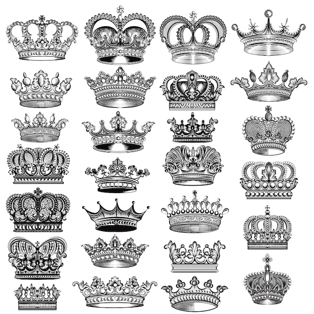 crown designs collection vector premium download