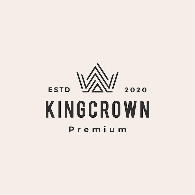 Корона битник старинный логотип значок иллюстрации Premium векторы