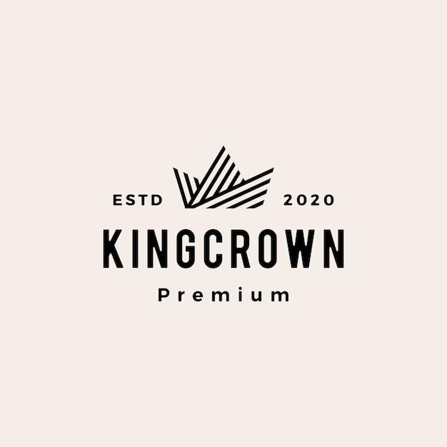 クラウンヒップスタービンテージロゴアイコンイラスト Premiumベクター