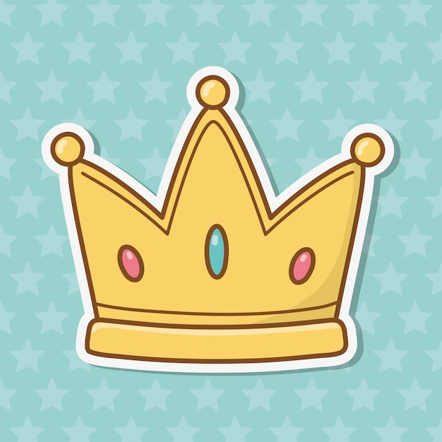 Crown icon cartoon Premium Vector
