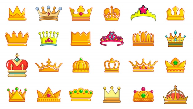 Crown icon set. cartoon set of crown vector icons set isolated Premium Vector