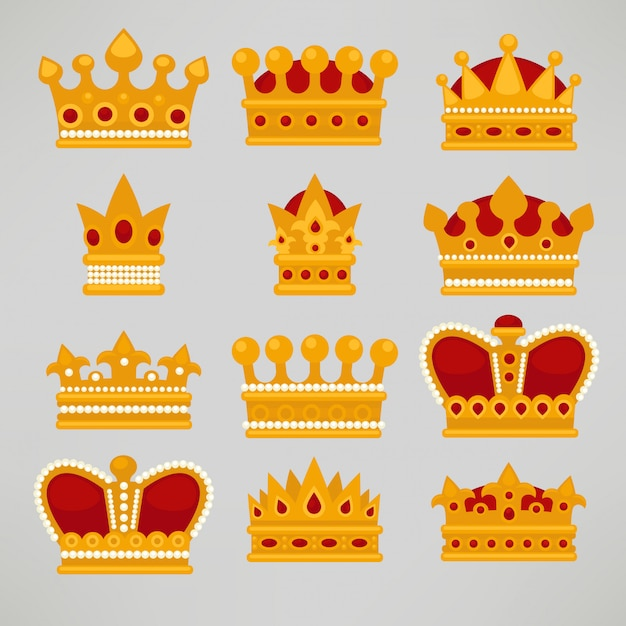 Crown icons flat royal set. Premium Vector