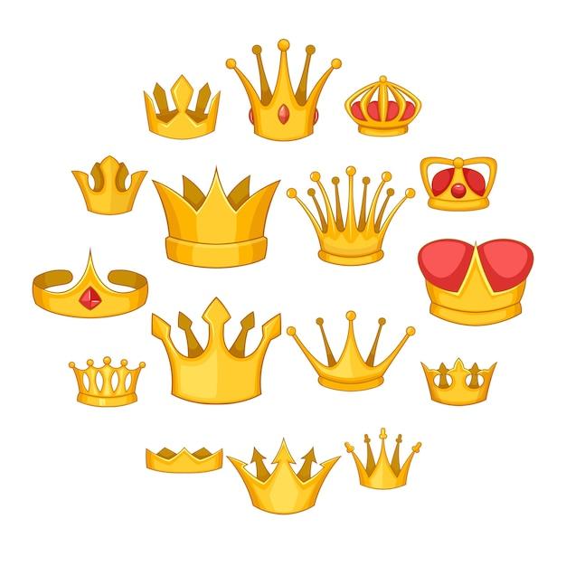 Crown icons set, cartoon style Premium Vector