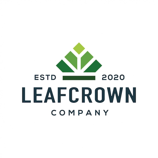 Crown and leaf logo design vector. Premium Vector