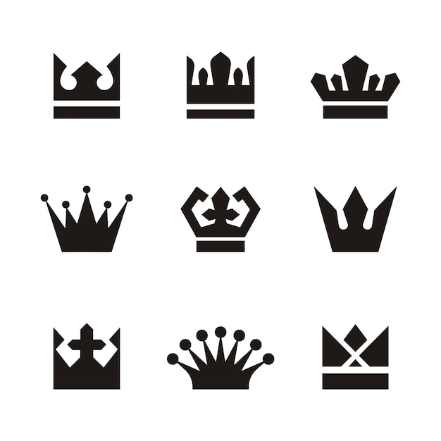 crown logo set silhouette vector premium download rh freepik com free vector crown download free vector crown icon