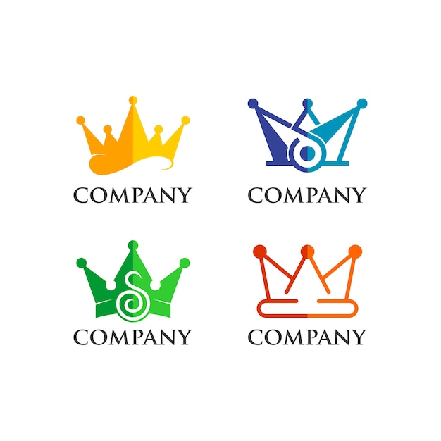 Crown logo set Premium Vector