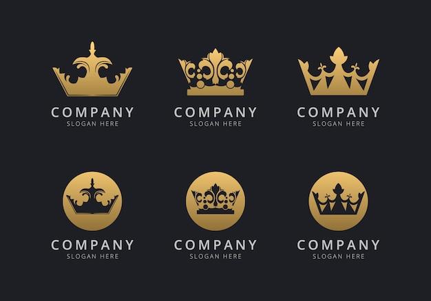 Шаблон логотипа crown с золотистым стилем для компании Premium векторы