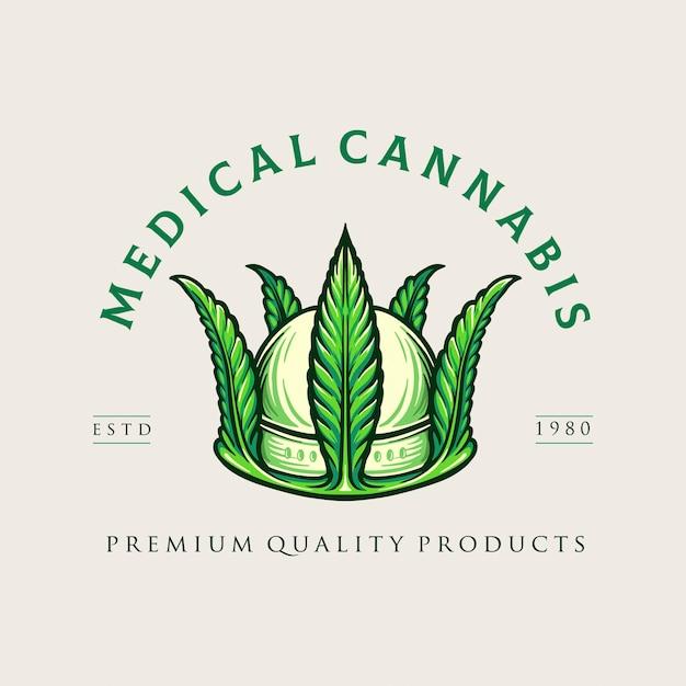 クラウンメディカル大麻ロゴ雑草会社とオンラインストアマリファナ Premiumベクター