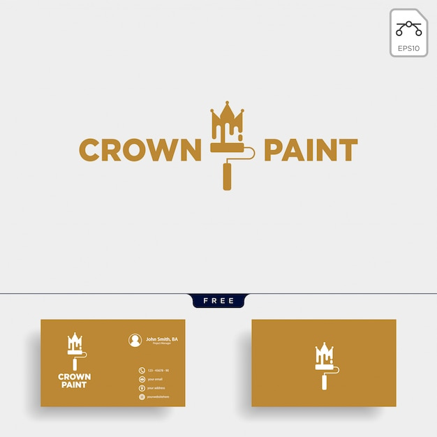 Crown paint brush colorful logo template vector icon element Premium Vector