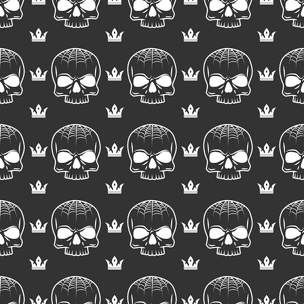 Crown and skull seamless pattern Premium Vector