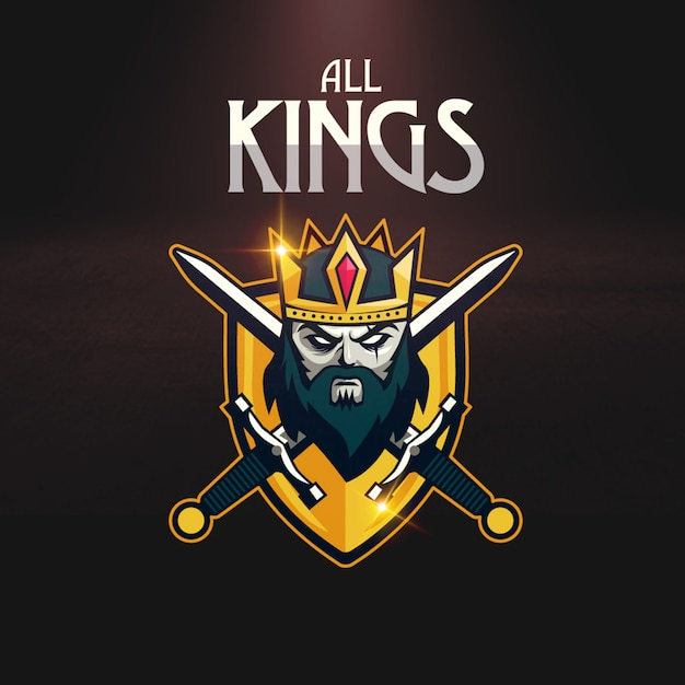 Crown sword shield sport gaming logo Vector | Premium Download