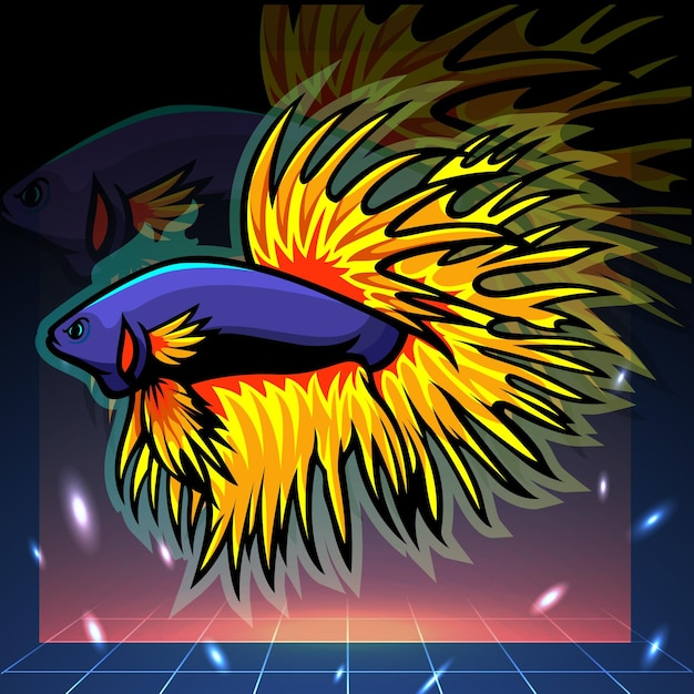 クラウンテールベタの魚のマスコット。 eスポーツロゴデザイン Premiumベクター