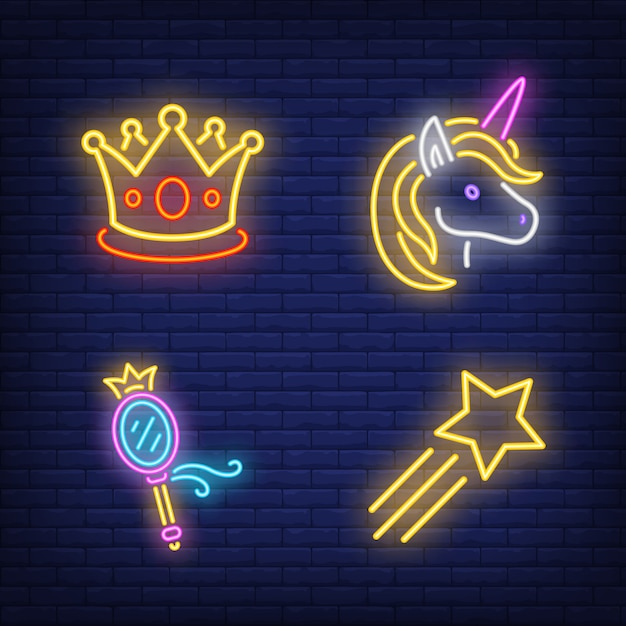 Crown, unicorn, mirror and flying star neon signs set Free Vector
