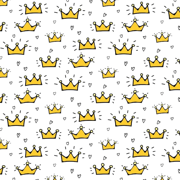Crown vector pattern background for kid. Premium Vector
