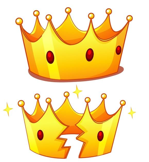 Корона со сломанной короной на белом фоне Бесплатные векторы