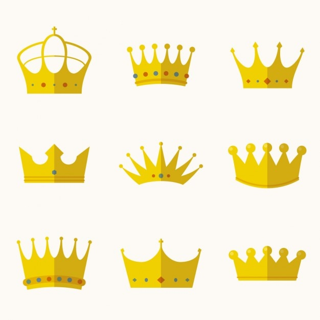 Crowns collection in flat design Free Vector