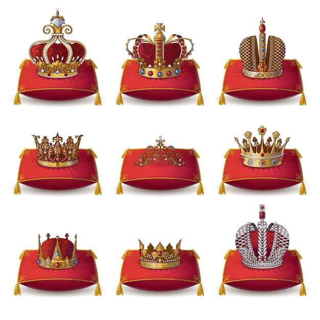 Collezione di corone di re e regina Vettore gratuito