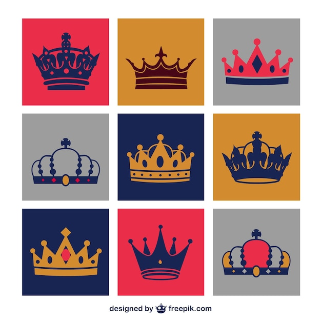 Crowns set Free Vector