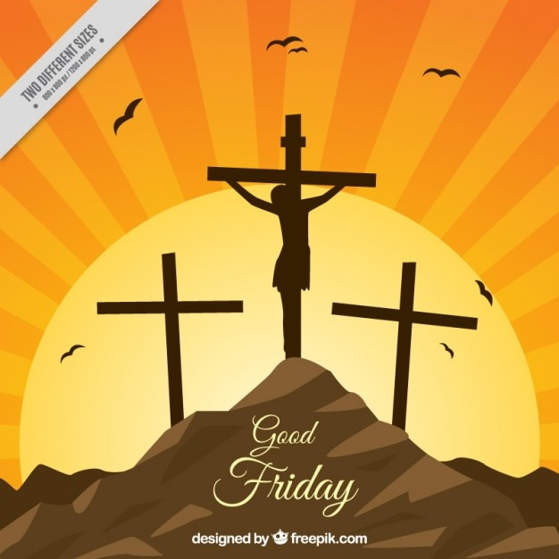 Crucifixion against the light background Free Vector