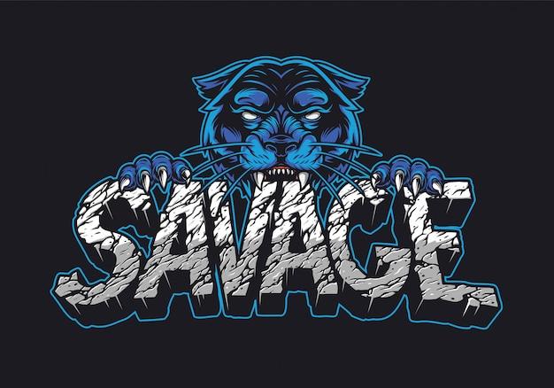 Cruel black panther holding savage word Premium Vector