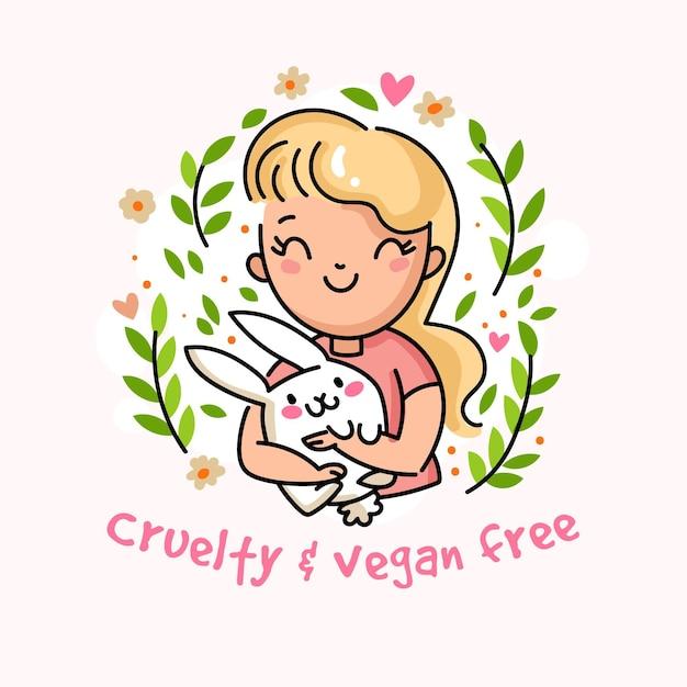 Послание вегана и без жестокости с женщиной, держащей кролика Бесплатные векторы