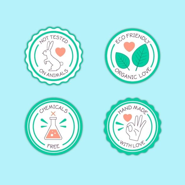 Collezione di badge senza crudeltà Vettore gratuito
