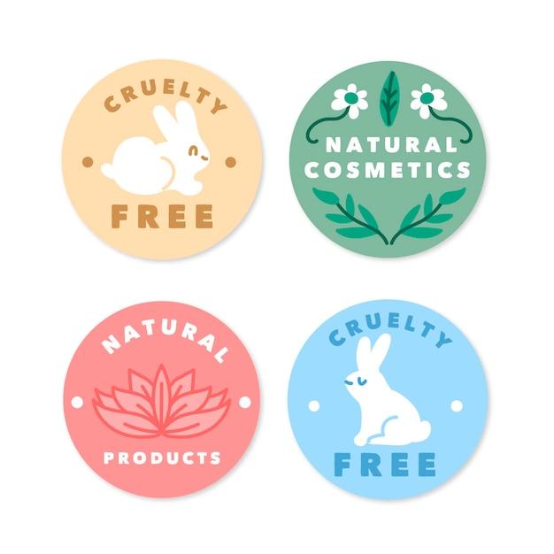 Collezione di badge cruelty free Vettore gratuito