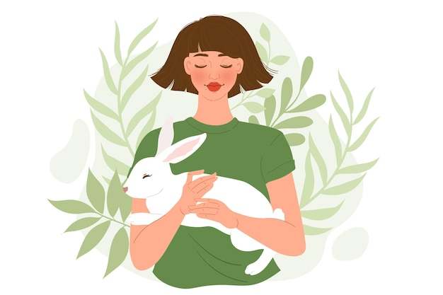 Premium Vector   Cruelty free and vegan illustration with character