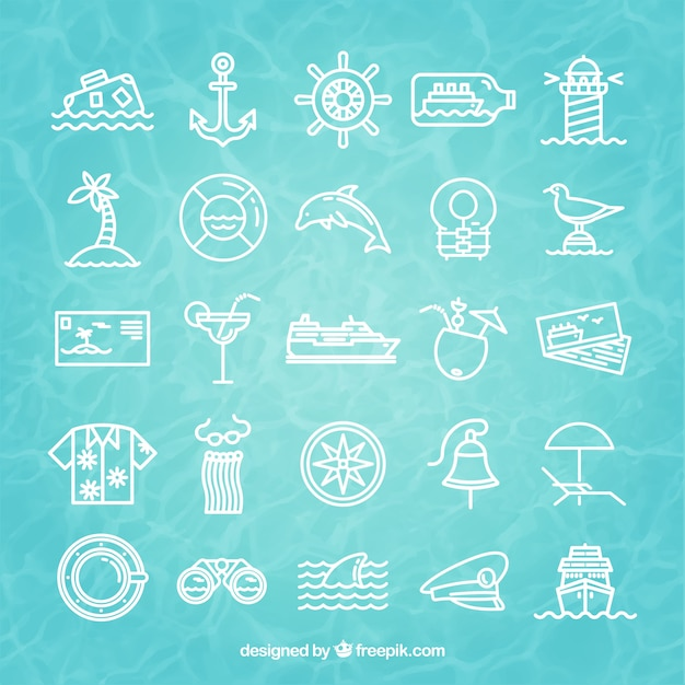Cruise icons Free Vector